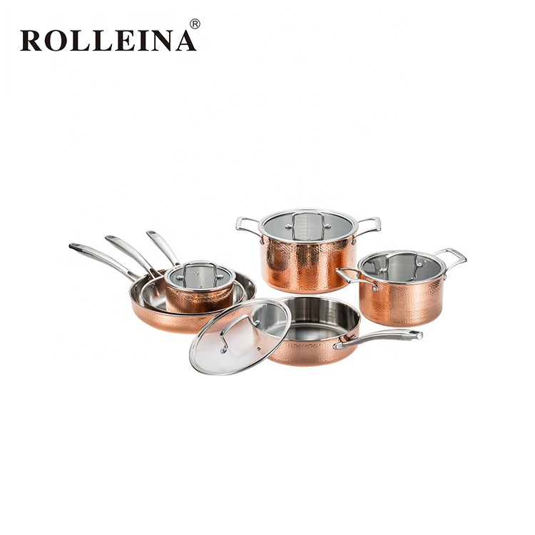 Multifunction Household 6 Pcs Straight Shape Frying Pan Casserole Tri-ply Copper Cookware Set