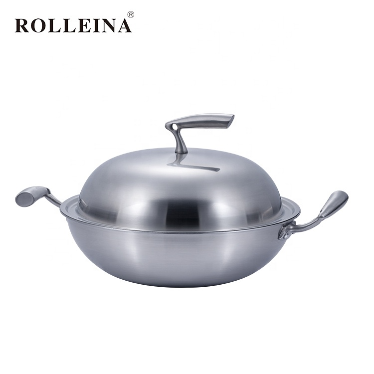 Customizable Multi-ply Clad Stainless Steel Cooking Wok With Casting Handle