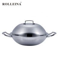Customizable Durable Multi-ply Clad Stainless Steel Wok With Double Handle
