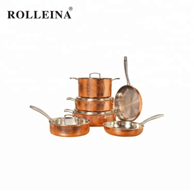 Multifunction Straight Shape Kitchen Cooking Pot 3 Ply Copper Cookware Set