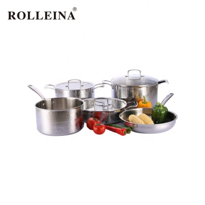 Best Selling Restaurant 5 Pcs Kitchenware 3 Ply Stainless Steel Pot Cookware Set