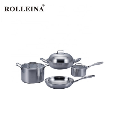 High Quality Tri-ply Stainless Steel Kitchenware Cookware Set With Casting Handle