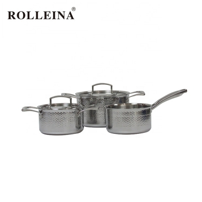 Various Size Pot And Pan Food Casserole Tri Ply Stainless Steel Cookware Set