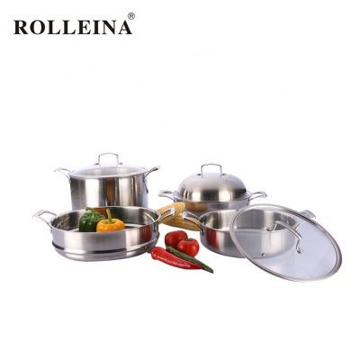 Factory Direct Sell Kitchen 3 Pcs Tri Ply Stainless Steel Steamer Pot Cookware Set