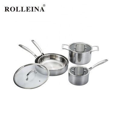 Hot Selling Straight Shape Kitchen Stew Pot 3 Ply Stainless Steel Cookware Set