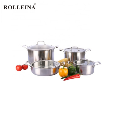 Newest Tri Ply Stainless Steel Casserole Soup Pot Kitchen Cookware Set