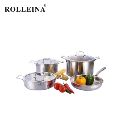 Double Handle Induction Tri-ply Stainless Steel Soup Pot Frypan Cookware Set