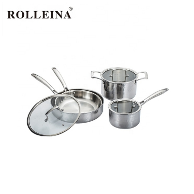 Best Selling Restaurant 3 Ply Stainless Steel Milk Pot Kitchen Cooking Pan Cookware Set