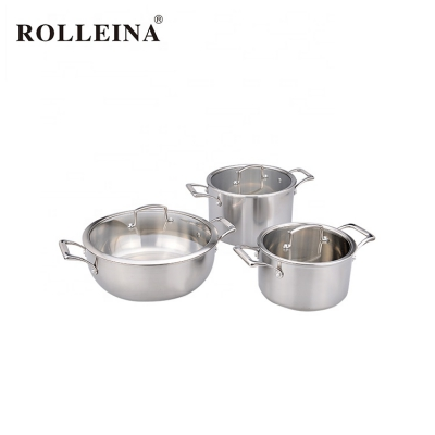 New Design Easy To Clean Kitchen Tri Ply Stainless Steel Pot And Pan Cookware Set