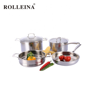 Multifunction Tri Ply Stainless Steel Cooking Pot Cookware Set With Glass Lid