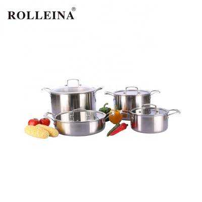 Newest Tri Ply Stainless Steel Casserole Cookware Saucepan Set