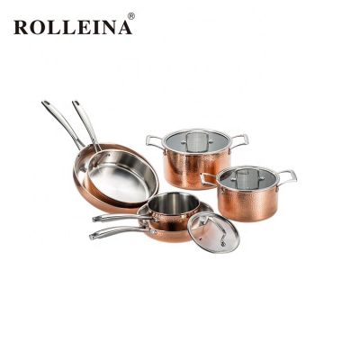 Multifunction Eco-friendly Straight Shape 5 Pcs Food Pan Tri-ply Copper Cookware Set