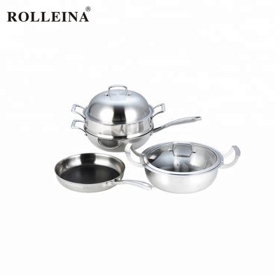 Professional Design 3 Pcs Tri-ply Clad Stainless Steel Cooking Steamer Pot Cookware Set