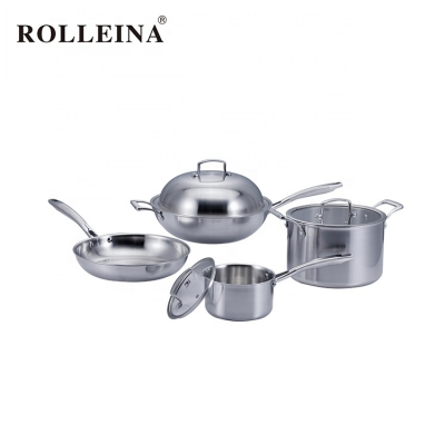 Hot Sale Durable Tri-ply Stainless Steel Wok Kitchenware Cookware Set With Casting Handle