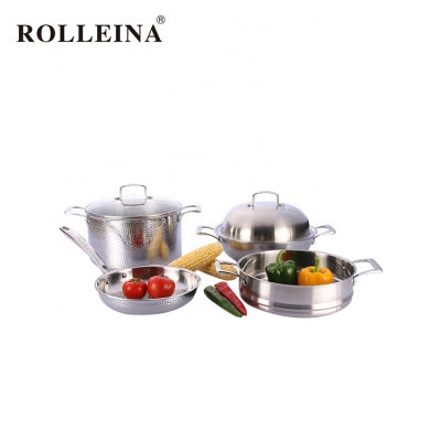 Double Handle Durable Cooking Pot Tri-ply Stainless Steel Kitchen Cookware Set