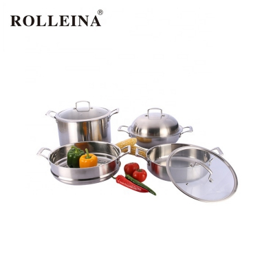 Hot Selling Kitchen Cooking Tri Ply Stainless Steel Hot Pot Cookware Set With Steamer