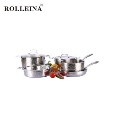 Restaurant 5 pcs 3 Ply Stainless Steel Kitchen Pot Casserole Frying Pan Cookware Set