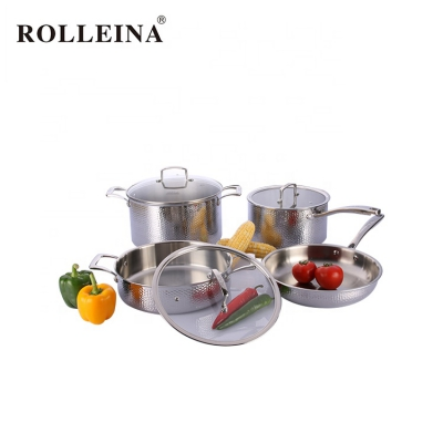 Professional Design Household Tri-ply Stainless Steel Kitchen Cooking Pot Cookware Set With Glass Lid