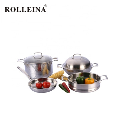 Multi-function Double Handle Tri-ply Stainless Steel Cookware Kitchen Pot Set