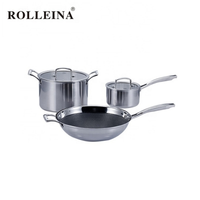 Hot Sale Professional Level Tri-ply Stainless Steel Culinary Cooking Pot Set Non Stick Cookware
