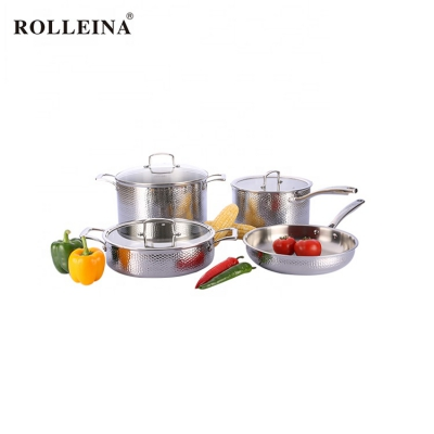 Professional Tri-ply Stainless Steel Cooking Pot Chef Cookware Set