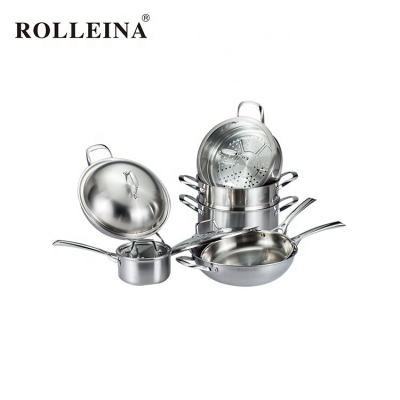 Modern Design 2 Layer Tri-ply Stainless Steel Food Steamer Cooking Pot Cookware Set