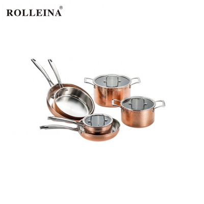 Home Kitchen Cooking Induction Bottom Tri-ply Copper Cookware Set