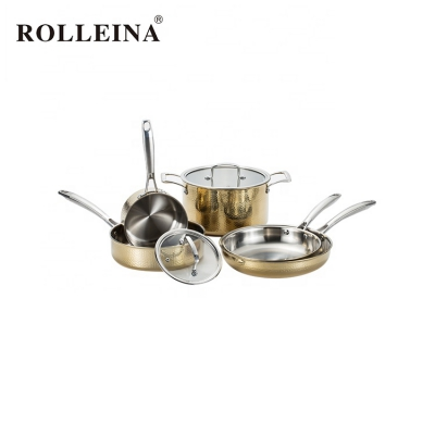 Various Sizes Kitchen Accessories Tri-ply Clad Gold Hammered Frying Pan Cookware Set