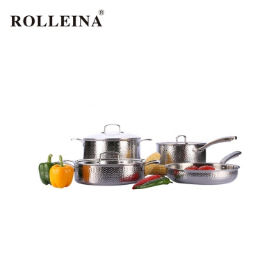 Professional Tri-ply Stainless Steel Stew Pot Frying Pan Cookware Set