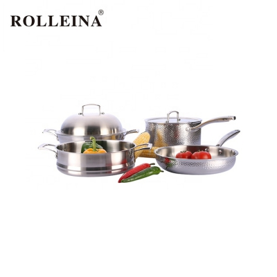 Various Sizes Non Coating Steamer Pot Tri-ply Stainless Steel Cookware Set