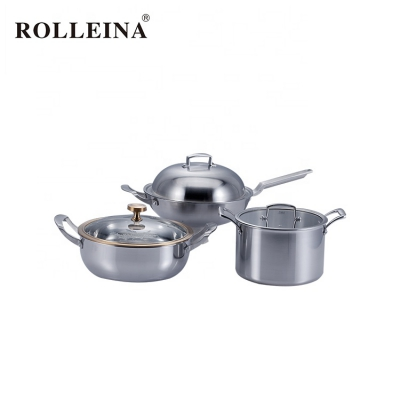 2019 Best Quality 4 Pcs Kitchen Tri-Ply Stainless Steel Pot Cookware Set
