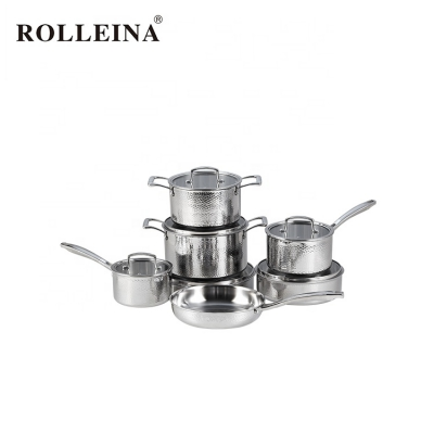 Factory Price Straight Shape Kitchen Cooking Pot 3 Ply Stainless Steel Cookware Set