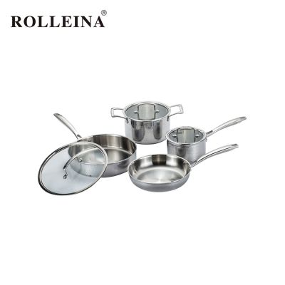 Factory Price Straight Shape Kitchen Hammered Pot Tri Ply Stainless Steel Cookware Set