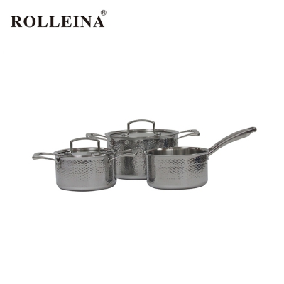 Factory Price 3 Pcs Kitchen Casserole Tri-ply Stainless Steel Cookware Set