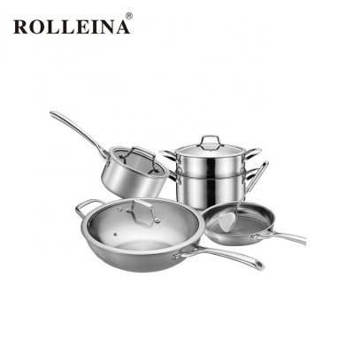 New Item Tri-ply Stainless Steel 2 Layer Food Steamer Soup Pot Saucepan Cookware Set