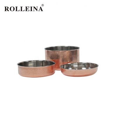 Multifunction Straight Shape Kitchen Cook Wares Set Big Casserole Tri Ply Copper Cookware