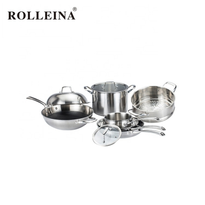 Classic Tri-ply Stainless Steel Food/ Rice Steamer Stock Pot Non Stick Cookware Set