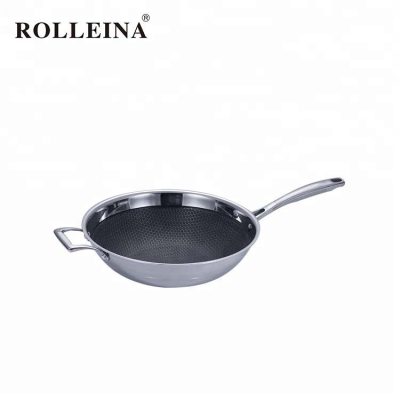 Wholesale 3 Ply Stainless Steel Wok Pan With Lid