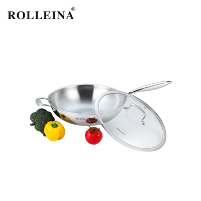 New Style Tri Ply Stainless Steel Chinese Wok With Glass Lid