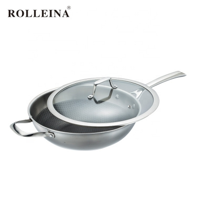 High Selling Tri-ply Stainless Steel Cookware Induction Non Stick Wok