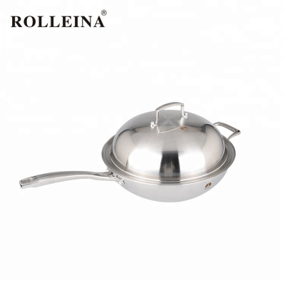 Healthy Non-toxic Tri Ply Stainless Steel Household Wok
