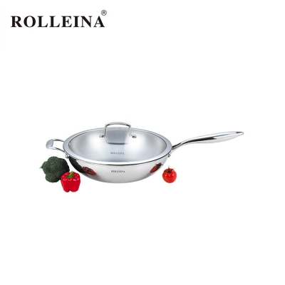 Modern Design Tri Ply Stainless Steel Chinese Wok With Glass Lid