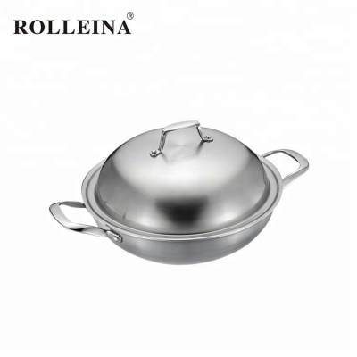 Factory Direct Sell Wear-Resistant Tri-ply Stainless Steel Wok