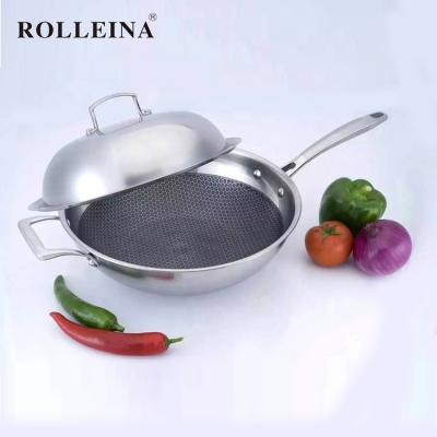 Premium Quality Non-Stick Kitchen Cooking Triply Stainless Steel Induction Wok