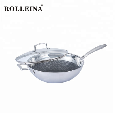 New Style Economic Non-stick 3 Ply Stainless Steel Chinese Wok