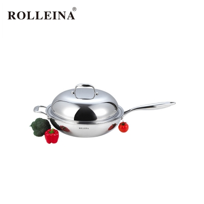 Superior Quality Tri Ply Stainless Steel Household Chinese Wok
