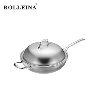 Professional Design 3 Ply Stainless Steel Deep Frying Pan/ Wok