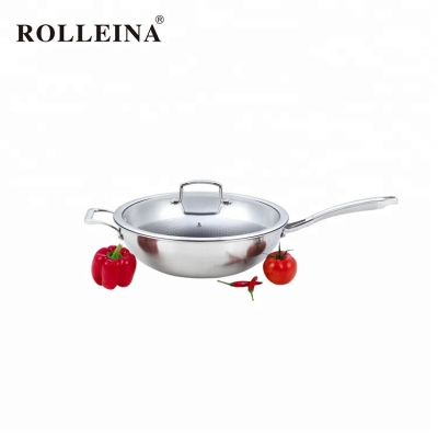 Durable Cookware Tri Ply Stainless Steel Wok With Glass Lid