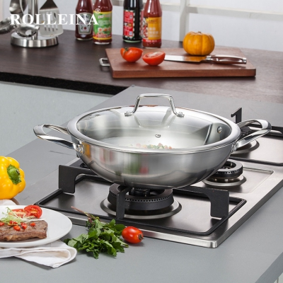 High Quality Cookware Tri-ply Stainless Steel Traditional Gas Wok