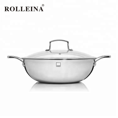 New Style Economy Double Handle Stainless Steel Chinese Wok